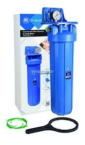 """Szűrőház, 20x4""""-os Big Blue méret, tartókonzollal, nyomásmérővel és szűrőház kulccsal"""