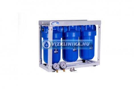 """Központi 3 vízszűrős 10x4"""" BigBlue szűrőház csoport, Aquafilter, állványos, 1"""" csatlakozás"""
