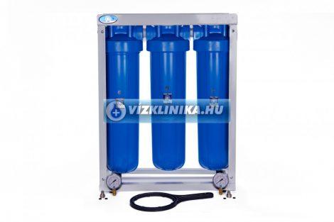 """20""""X4""""-os Big Blue szűrőház 3 db-os állványon szűrőház kulccsal SZŰRŐK NÉLKÜL, 1""""-os csatlakozással, nyomásmérővel, Aquafilter"""