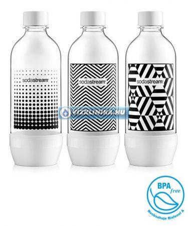 SodaStream szénsavasító palack, 3 darab, fekete-fehér mintás, hagyományos szódagéphez