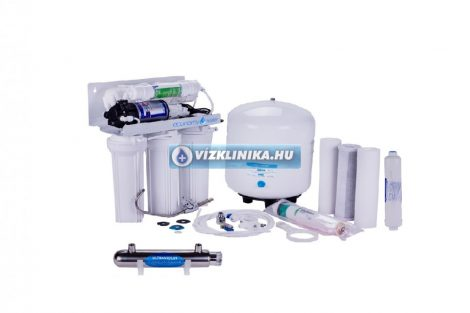 Economy Water RO-Traditional 7 lépcsős, nyomásfokozó szivattyú, fordított ozmózis rendszerű víztisztító (50GPD), UV lámpával és ásványi anyag visszasózóval