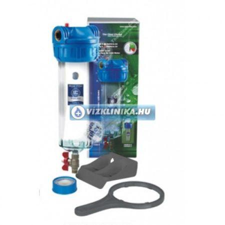 """10""""-os szűrőház leeresztő csappal, szűrőház kulccsal és tartó konzollal, Aquafilter (EU)"""